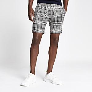 Grey check super skinny shorts