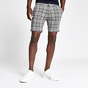 Grey check super skinny shorts