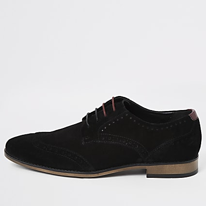 Black suede lace-up brogues