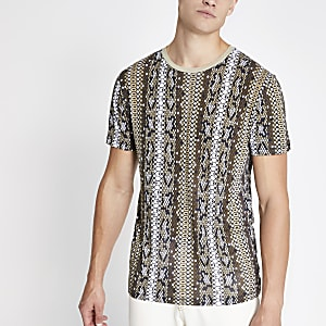 Jack & Jones – Braunes, bedrucktes T-Shirt