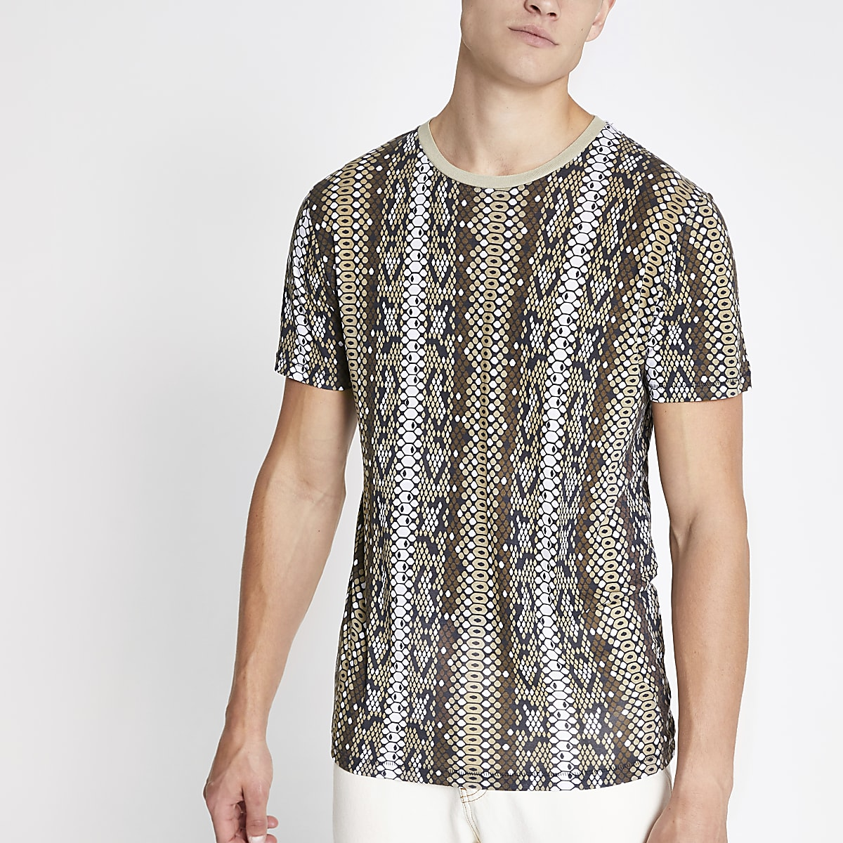Jack and Jones brown printed T-shirt