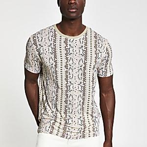 Jack & Jones – Beiges, bedrucktes T-Shirt