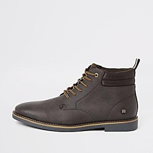 Dark brown lace-up chukka boots
