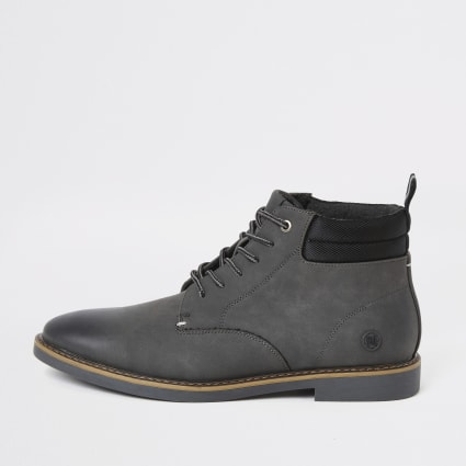 Grey lace-up chukka boots