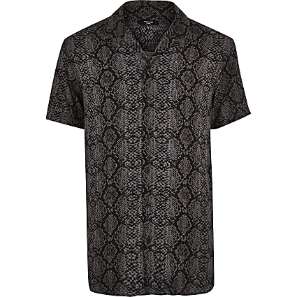 Jack and Jones grey snake short sleeve shirt