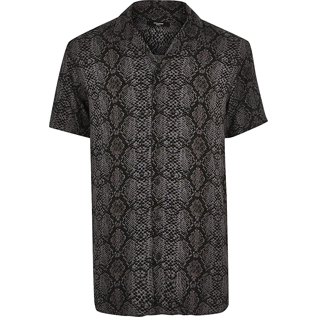 Jack and Jones grey snake short sleeve shirt