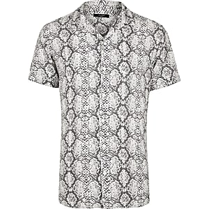 Jack and Jones – Chemise à imprimé serpent blanche