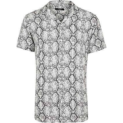 Jack and Jones white snake print short shirt