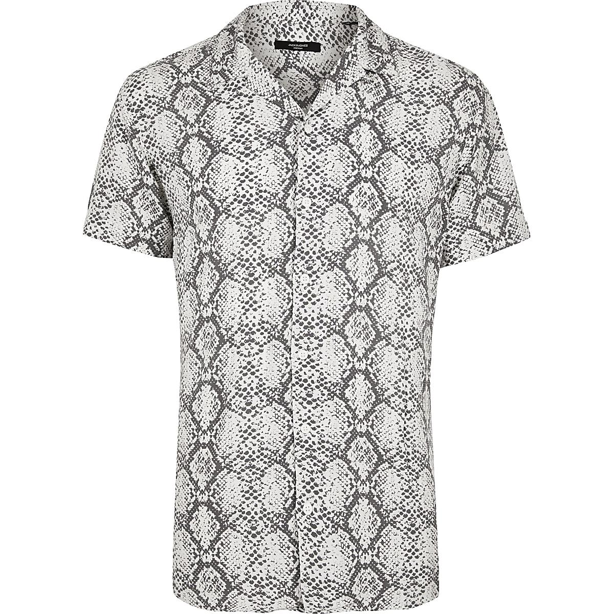 Jack and Jones white snake print short shirt