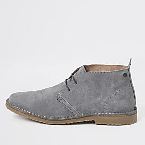 Grey suede dessert boots