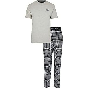 Big & Tall – Grau kariertes Loungewear-Set