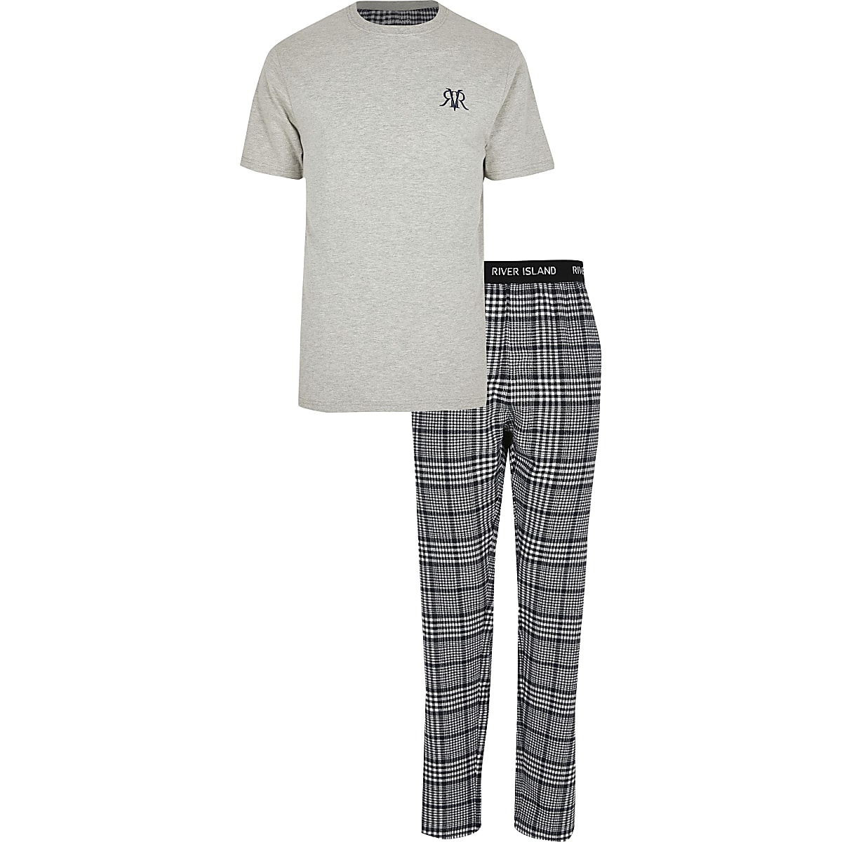 Big and Tall grey check loungewear set