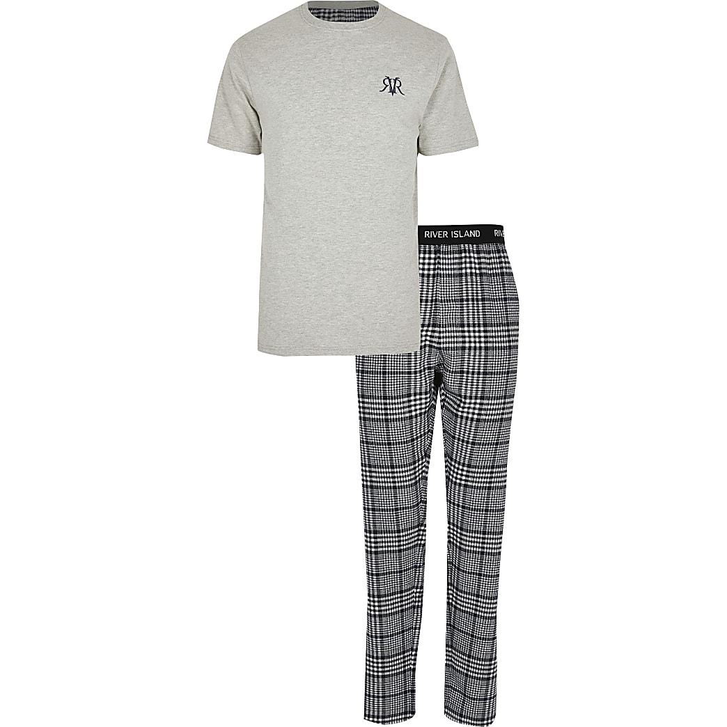 Big and Tall grey check loungewear set