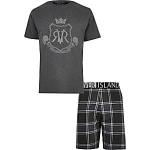Big & Tall – Graues Pyjama-Set mit RVR-Print