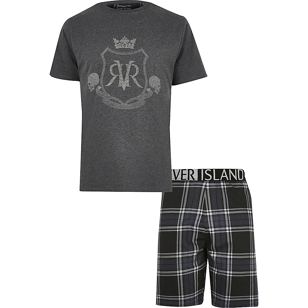 Big and Tall grey RVR printed pyjama set