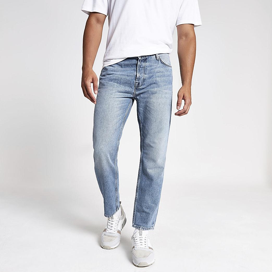 Jay - Middenblauwe ruimvallende cropped jeans