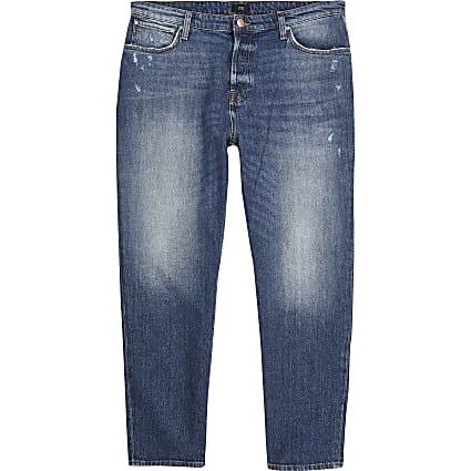 Dark blue loose fit cropped jeans