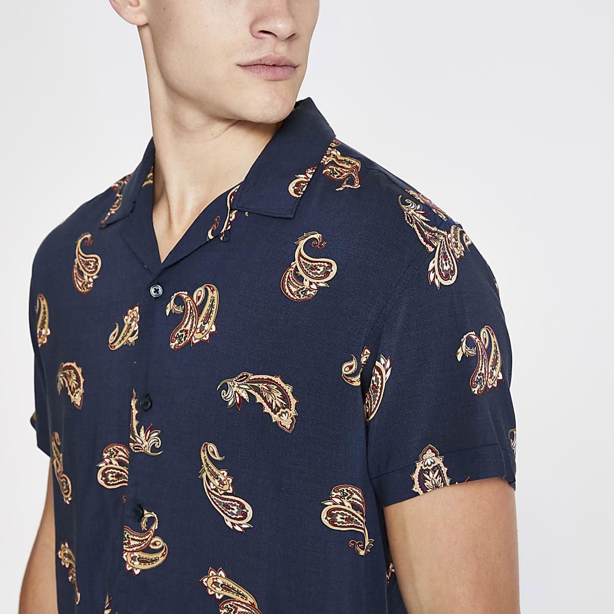 Jack and Jones navy print short sleeve shirt