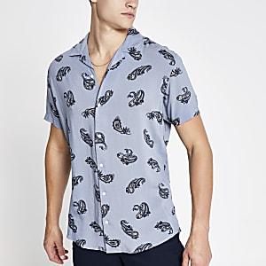Jack & Jones – Hellblaues, bedrucktes Hemd