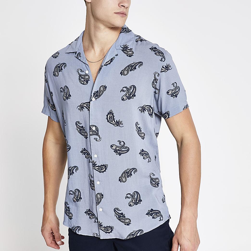 Jack & Jones ‒ Chemise ajustée rayée bleue