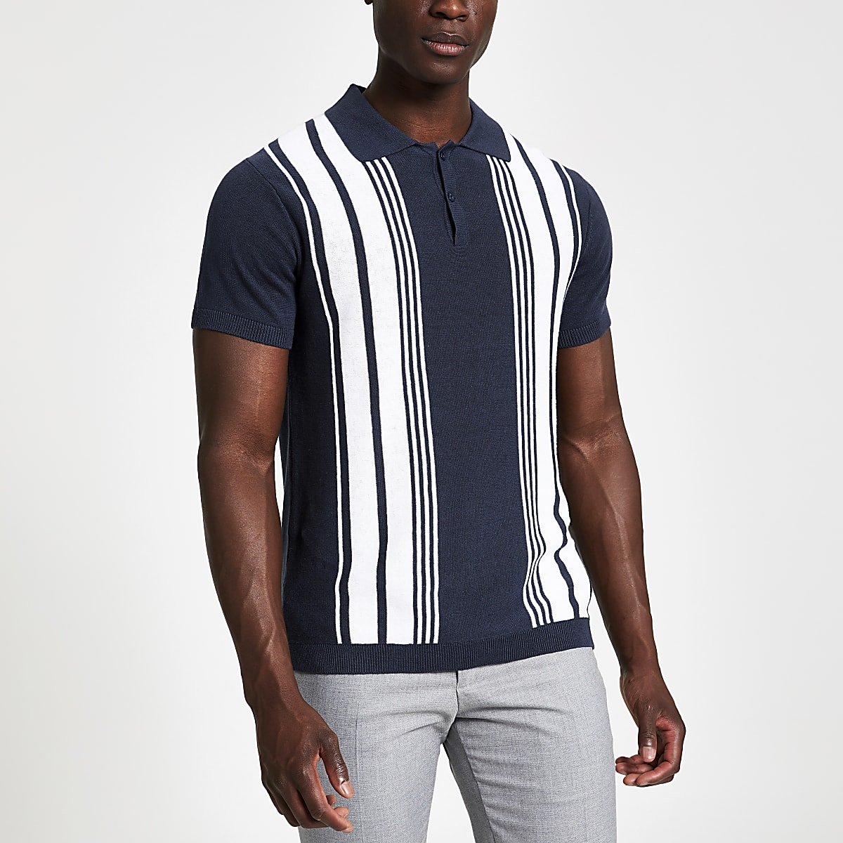 Jack and Jones blue knitted polo shirt