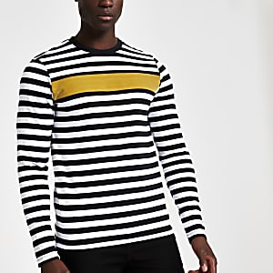 Jack & Jones – Schwarzes, gestreiftes T-Shirt