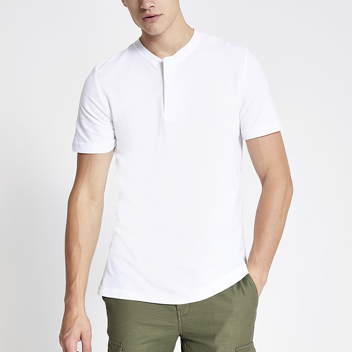 Jack and Jones white collarless polo shirt