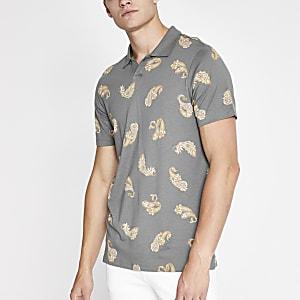 Jack & Jones – Bedrucktes Polohemd in Khaki