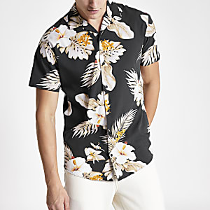 Jack and Jones black Hawaiian print shirt