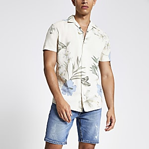 Jack & Jones – Beiges, bedrucktes Slim Fit Hemd