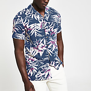 Jack & Jones – Marineblaues Slim Fit Hemd mit Print