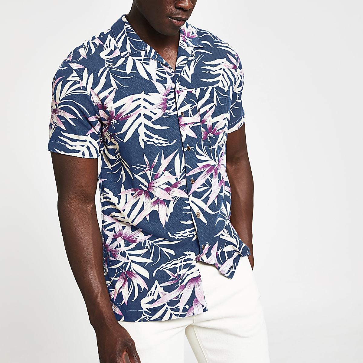 Jack and Jones - Marineblauw overhemd met print en korte mouwen