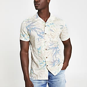 Jack and Jones - Wit overhemd met print en korte mouwen