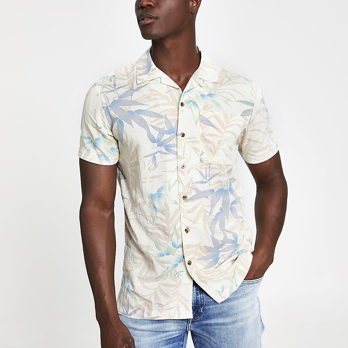 Jack and Jones - Wit overhemd met print en korte mouwen