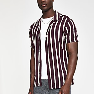Jack and Jones - Bruin gestreept slim-fit overhemd