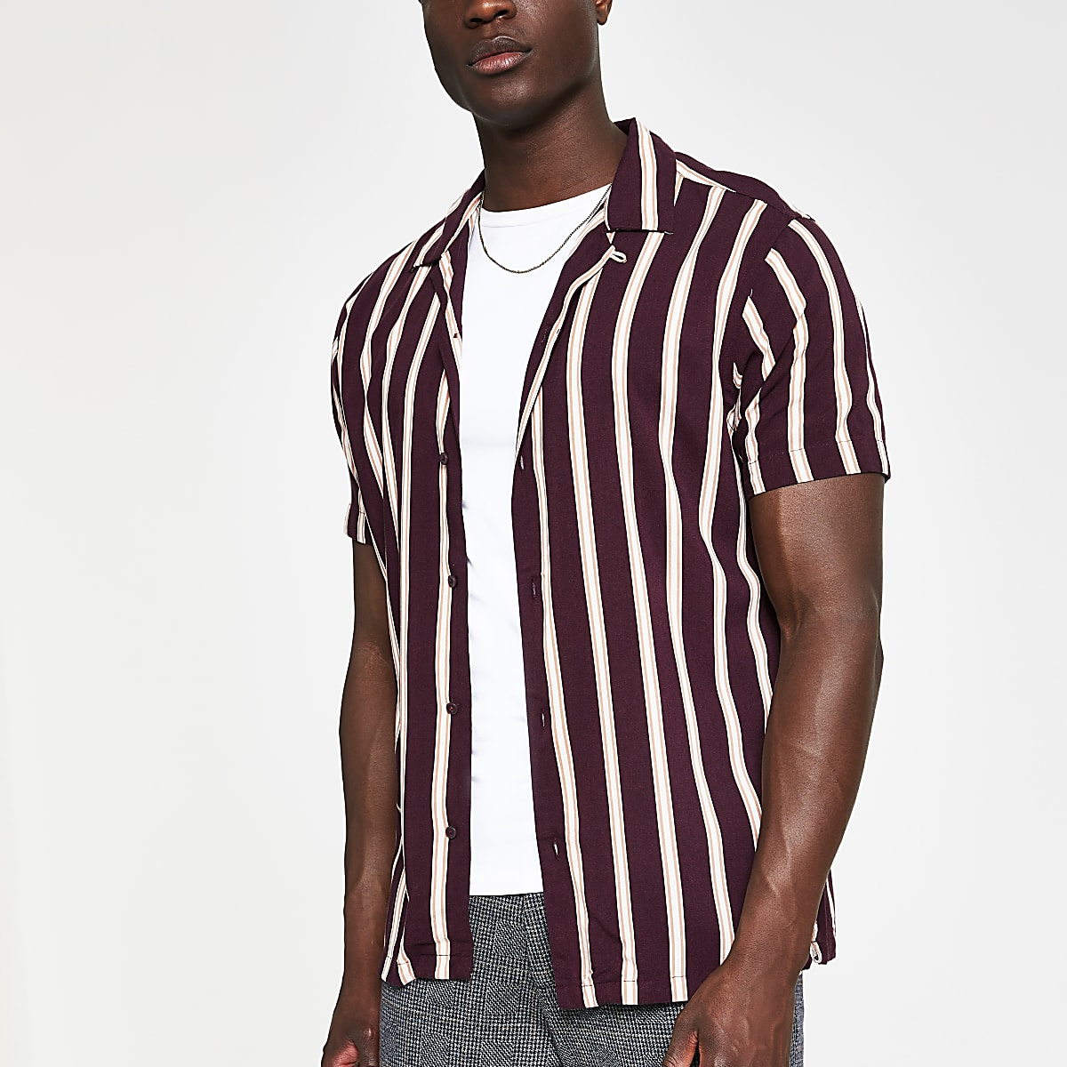 Jack and Jones brown stripe slim fit shirt