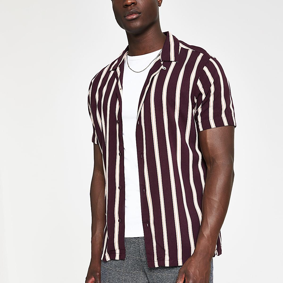 Jack and Jones brown stripe slim fit shirt