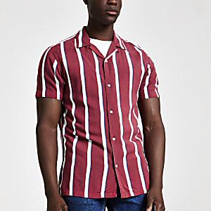 Jack and Jones - Rood gestreept overhemd met korte mouwen