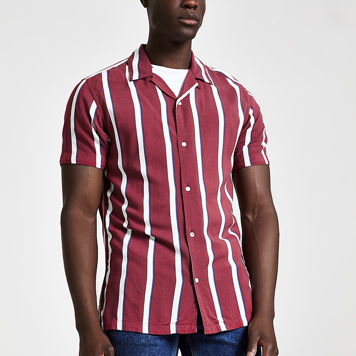Jack and Jones red stripe short sleeve shirt