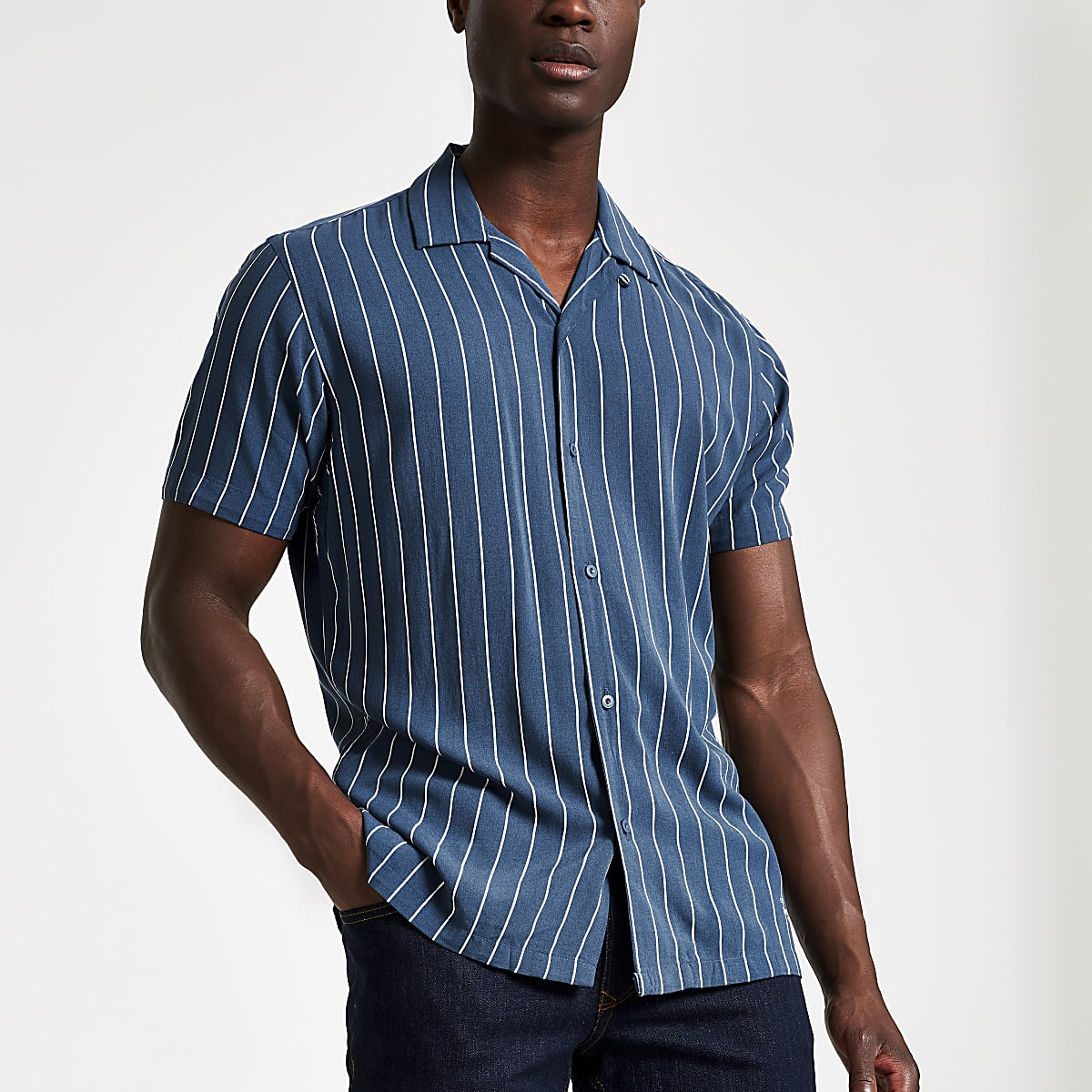 Jack and Jones blue stripe slim fit shirt