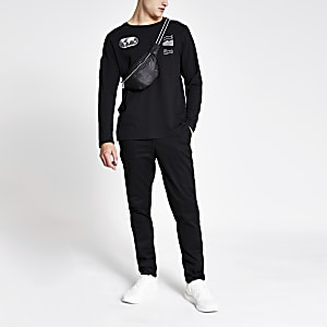 Jack and Jones - Zwart T-shirt met lange mouwen