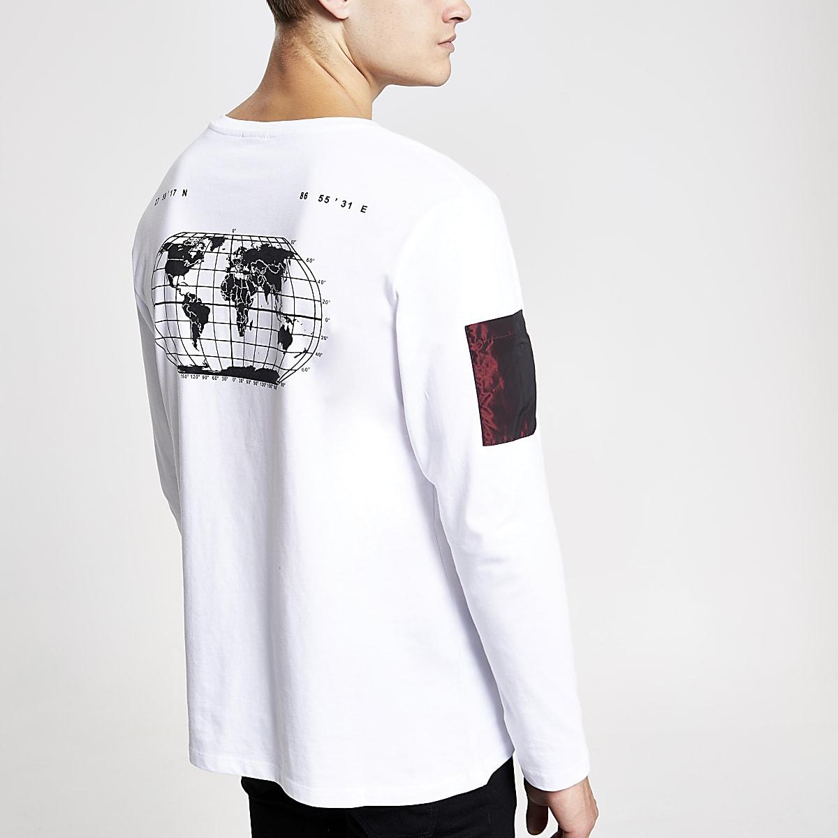 Jack and Jones – T-shirt blanc à manches longues