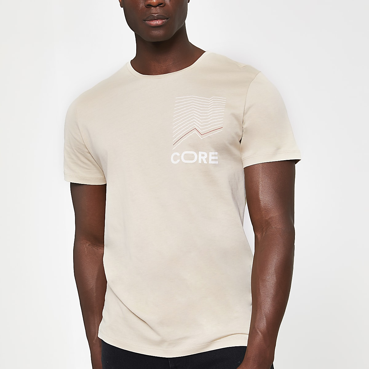 Jack and Jones beige printed T-shirt