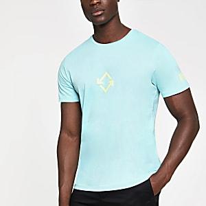 Jack and Jones – T-shirt imprimé bleu clair