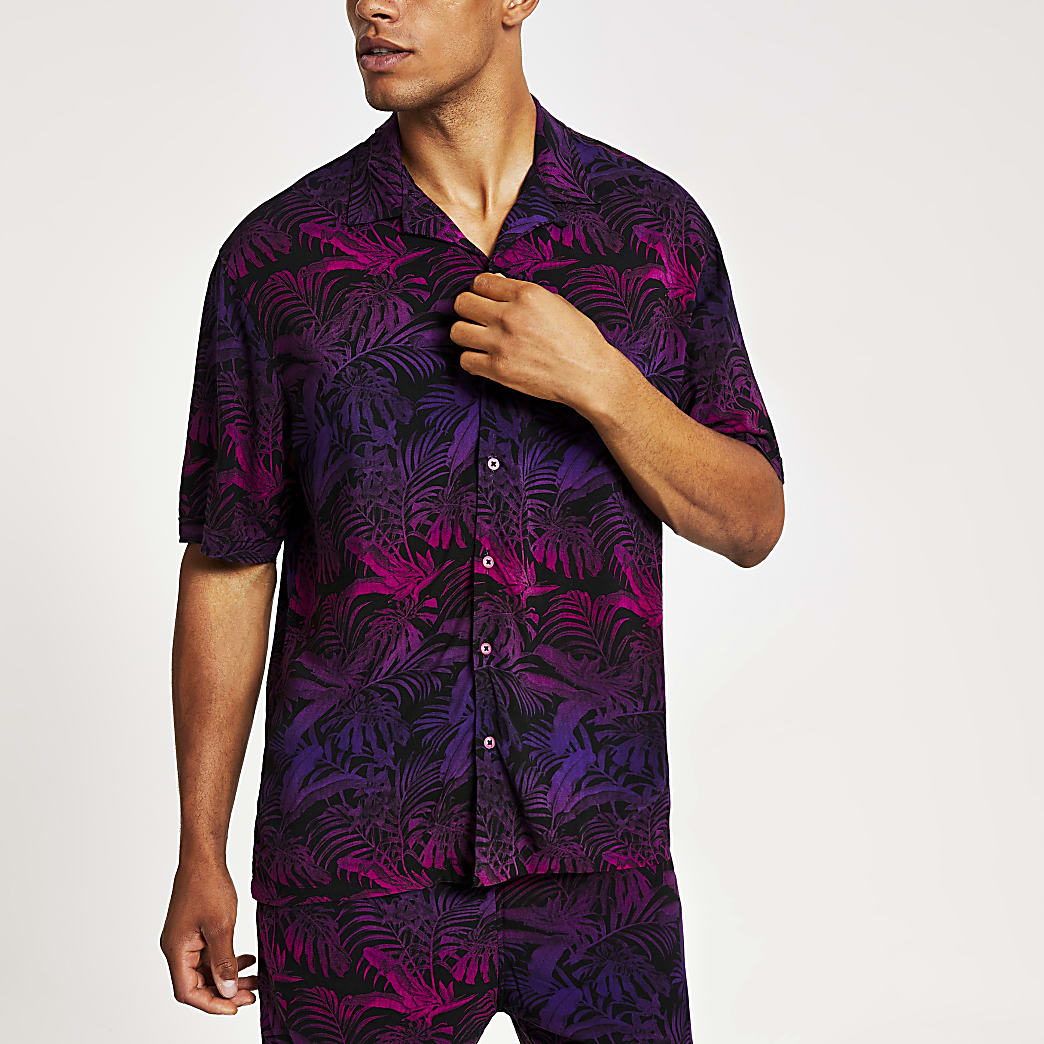 Jack and Jones pink print regular fit shirt