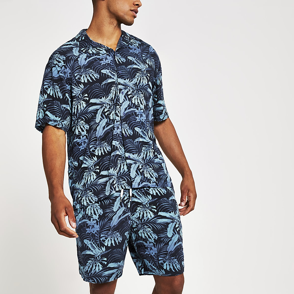 Jack and Jones - Blauw kort overhemd met tropische print