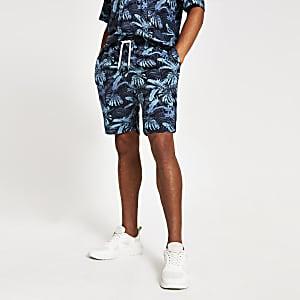 Jack & Jones – Blaue Shorts mit tropischem Print