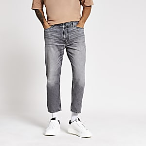 Grey loose fit cropped jeans