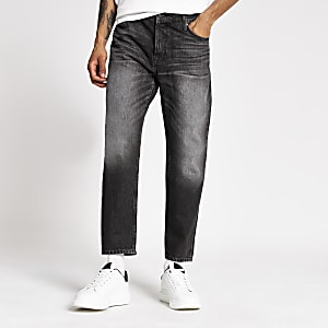 Black wash loose fit cropped jeans