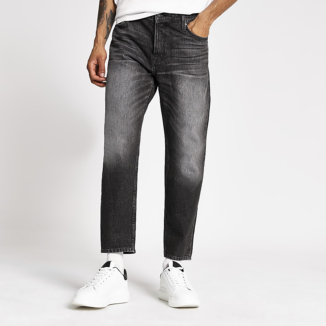 Black wash Jay loose fit cropped jeans